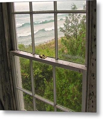South Manitou Island Lighthouse Window Metal Print by Mary Lee Dereske
