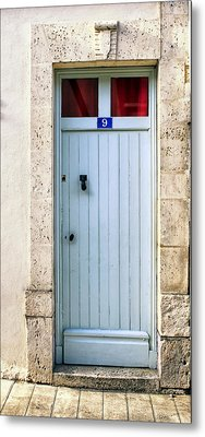South Of France Pale Blue Door Metal Print by Georgia Fowler
