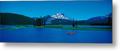 South Sister Canoeing Sparks Lake Or Usa Metal Print