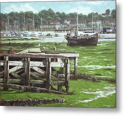 Southampton Northam River Itchen Mudflats Metal Print by Martin Davey
