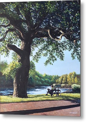 Southampton Riverside Park Oak Tree With Cyclist Metal Print by Martin Davey