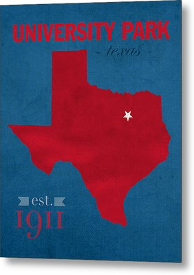 Southern Methodist University Mustangs Dallas Texas College Town State Map Poster Series No 098 Metal Print