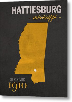 Southern Mississippi Golden Eagles Hattiesburg College Town State Map Poster Series No 099 Metal Print