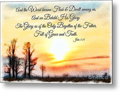 Southern Sunset - Digital Paint II With Verse Metal Print by Debbie Portwood