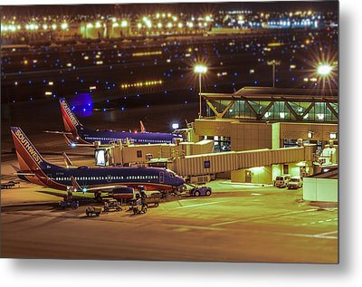 Southwest 737s In For The Night Metal Print