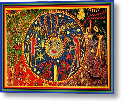 Metal Print featuring the digital art Southwest Huichol Del Sol by Vagabond Folk Art - Virginia Vivier