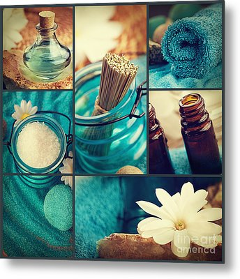 Spa Collage Metal Print by Mythja  Photography