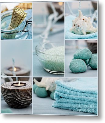 Spa Purity Collage Metal Print by Mythja  Photography