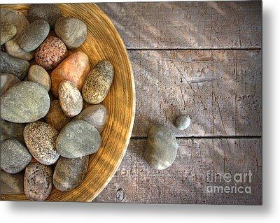 Spa Rocks In Wooden Bowl On Rustic Wood Metal Print