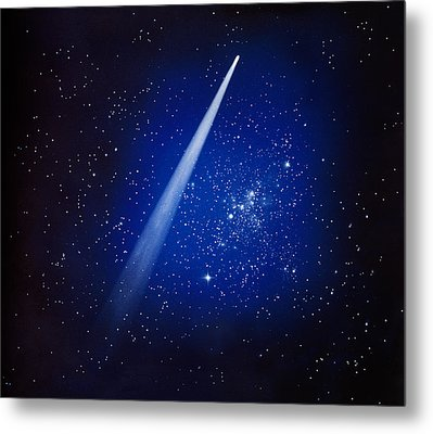 Space, Comet And Stars Metal Print by Panoramic Images
