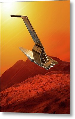 Space Craft In Outer Space Metal Print by Victor Habbick Visions