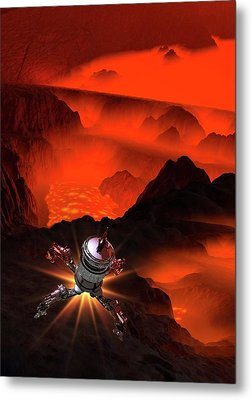 Space Craft Landing On Planet Metal Print by Victor Habbick Visions