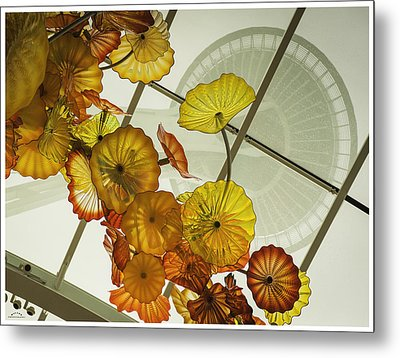 Space Needle And  Chilhuly Glass Metal Print