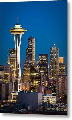 Space Needle Evening Metal Print by Inge Johnsson