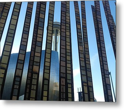 Metal Print featuring the photograph Space Needle Through Glass Fence by Karen Molenaar Terrell