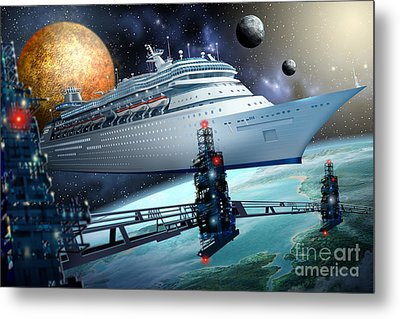 Space Ship Metal Print by Ciro Marchetti