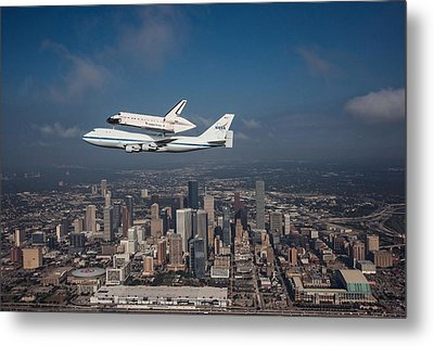 Space Shuttle Endeavour Over Houston Texas Metal Print