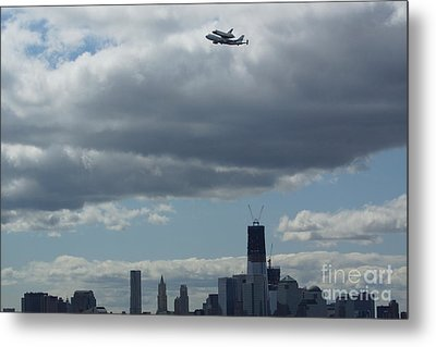 Metal Print featuring the digital art Space Shuttle Enterprise Flys Over Nyc by Steven Spak