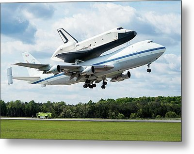 Space Shuttle Enterprise Piggyback Flight Metal Print by Nasa/smithsonian Institution/mark Avino