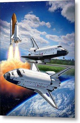 Space Shuttle Montage Metal Print by Stu Shepherd