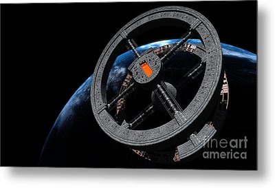 Space Station 5 In Earth Orbit Metal Print by Rhys Taylor