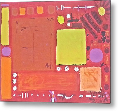 Space-time Food Fight Metal Print by Yshua The Painter
