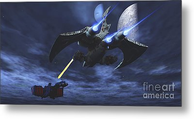 Spaceship Blasts A Laser Beam Toward An Metal Print by Corey Ford