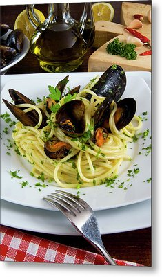 Spaghetti With Mussels (mytilus Metal Print