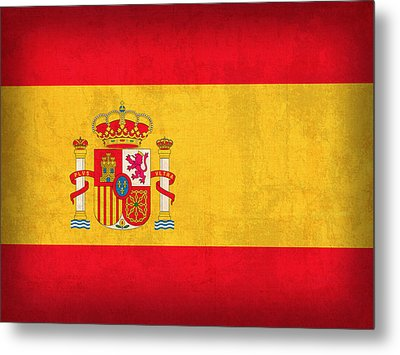 Spain Flag Vintage Distressed Finish Metal Print by Design Turnpike
