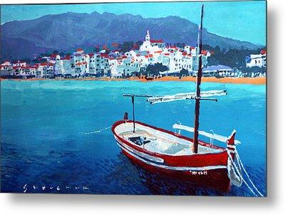 Spain Series 08 Cadaques Red Boat Metal Print by Yuriy Shevchuk