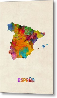 Spain Watercolor Map Metal Print by Michael Tompsett