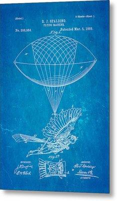 Spalding Flying Machine Patent Art 1889 Blueprint Metal Print by Ian Monk