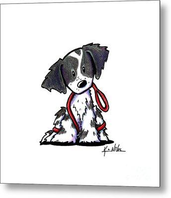Spaniel Puppy With Leash Metal Print by Kim Niles
