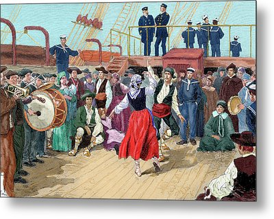 Spanish Emigrants On Board A Ship Metal Print by Prisma Archivo