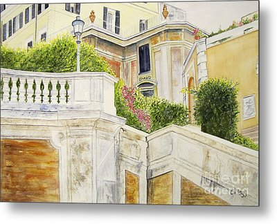 Metal Print featuring the painting Spanish Steps by Carol Flagg