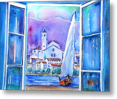 Spanish Window In Cadaques And The Church Of Santa Maria Metal Print