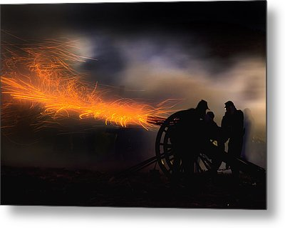 Spark Trails From Cannon Howitzer Blast Metal Print by Robert Jensen