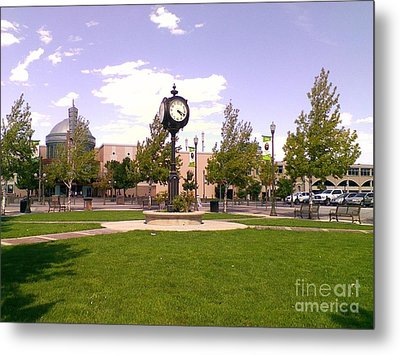 Metal Print featuring the photograph Sparks Community Clock by Bobbee Rickard