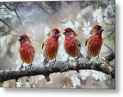 Metal Print featuring the painting Sparrows by Georgi Dimitrov