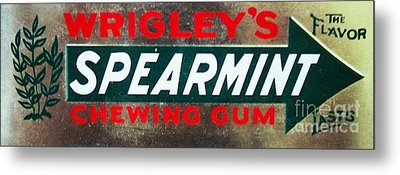 Spearmint Gum Sign Vintage Metal Print by Saundra Myles