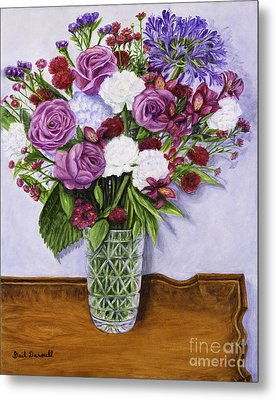 Special Bouquet In Crystal Vase On Heirloom Table Metal Print by Gail Darnell