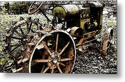 Speckled Antique Tractor Metal Print