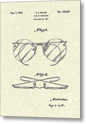 Spectacles 1937 Patent Art Metal Print