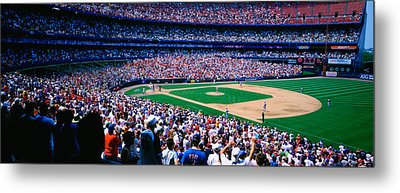 Spectators In A Baseball Stadium, Shea Metal Print
