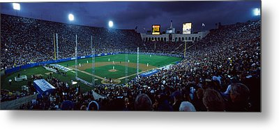 Spectators Watching Baseball Match, Los Metal Print by Panoramic Images