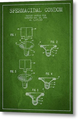 Spermacidal Condom Patent From 1986 - Green Metal Print by Aged Pixel