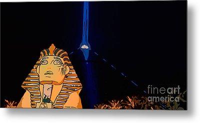 Sphinx And Luxor Hotel Beam Las Vegas - Pop Art Style - Panorami Metal Print