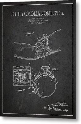 Sphygmomanometer Patent Drawing From 1955 - Dark Metal Print