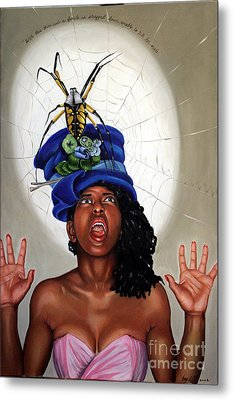 Spider Hat Metal Print by Shelley Laffal