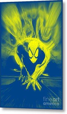 Spider-man Y B Blast Metal Print by Justin Moore